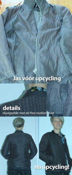 Upcycling van een oude grijze winterjas tot een hip gewatteerd jasje. Doorgestikt met free-motion stitching. Movies, Movie Posters, Dresses, Repurpose, Vestidos, Film Poster, Films, Popcorn Posters, Dress