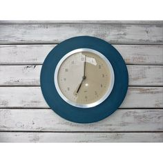 Deep Teal Turquoise With Silver Wall Clock Modern Chic Contemporary... (1.195 RUB) ❤ liked on Polyvore featuring home, home decor, clocks, grey, home & living, battery operated clocks, teal home decor, silver home accessories, silver clock and grey wall clock