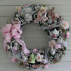 Tea cup wreath