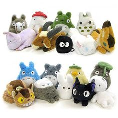 Studio Ghibli Plush. Totoro and his friends!!! <3. Already have the blue Totoro, but I want them all!