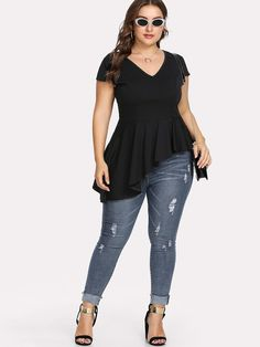 Shop Plus Asymmetric Pep Hem Blouse online. SheIn offers Plus Asymmetric Pep Hem Blouse & more to fit your fashionable needs. Plus Size Blouses, Plus Size Tops, Plus Size Dresses, Plus Size Outfits, Plus Size Womens Clothing, Plus Size Fashion, Clothes For Women, Fashion News, Fashion Outfits