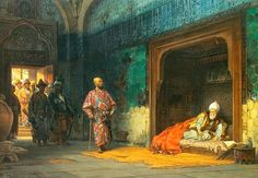 Bayezid held by Timurlane. Brought before Timurlane, Bayezid was initially treated with respect, but after a failed attempt to escape, he was placed in an iron cage