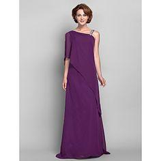 Sheath / Column Plus Size / Petite Mother of the Bride Dress Floor-length Sleeveless Chiffon with Beading – USD $ 89.99
