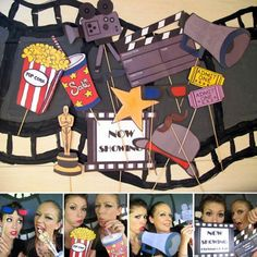 for our next movie party personalized movie photo booth props- perfect for a movie night, oscar bash, hollywood party or cinema birthday - clapper/sign personalized Deco Theme Cinema, Cinema Party, Movie Themes, Movie Props, Party Themes, Party Ideas, Themed Parties, Birthday Parties, Birthday Bash