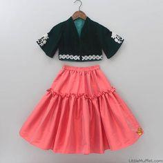 Pre Order: Dark Green Blouse With Carrot Red Skirt Frocks For Girls, Little Girl Dresses, Girls Dresses, Kids Frocks Design, Baby Frocks Designs, Kids Dress Wear, Kids Gown, Baby Dress Design, Frock Design
