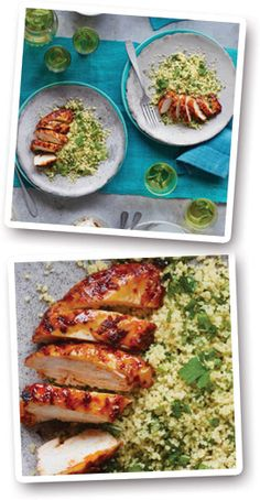Sticky chicken with harissa and green couscous recipe