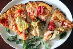 Cauliflower Pizza Crust: 2 cups grated cauliflower, 1/2 cup yogurt (or 1 cup cheese), 1 egg, 1 tsp Italian seasoning, Dash of sea salt.