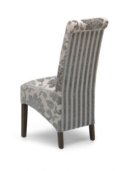 Pair Of Krista Baroque Mink Upholstered Roll Back Dining Chairs - Dark Legs