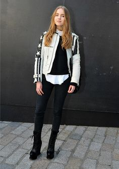 Model & stylist Alexandra Carl in monochrome stars and stripes at London Fashion Week, AW13