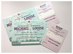 Festival ticket style wedding invites with tear off RSVP stub  Jill@hopeyoucanmakeit.co.uk