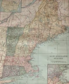 New England States- Vintage Map. $4.00. Via Etsy.