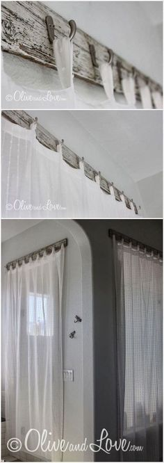 Not only curtains but also a stylish curtain rods can brighten up your space. There is a great variety of rods to choose from, and you can even build your own with some DIY skills. #Curtains #DIY  See more DIYs like this: http://fabulesslyfrugal.com/category/frugal-living/diy/
