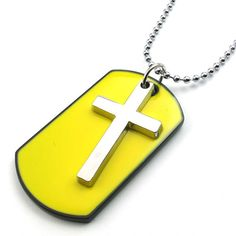 TEMEGO Jewelry Mens 2pcs Alloy Army Style Dog Tag Gothic Cross Pendant Necklace Chain Necklace, Yellow Silver >>> You can find more details by visiting the image link.