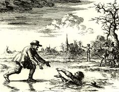"""""""Love your enemy.  Pray for those who persecute you."""" Print of Dirk Willems rescuing the Anabaptist catcher who was persuing him."""