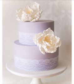 Lilac and lace wedding two tier wedding cake
