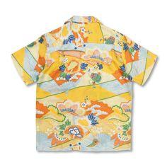 和柄 京友禅アロハシャツ <扇面と松/橙>