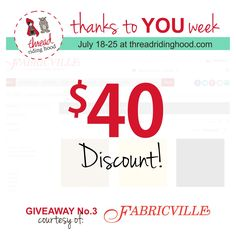Thanks to YOU Week Giveaway No.3 is from @fabricville - Visit www.threadridinghood.com to enter for your chance to win!