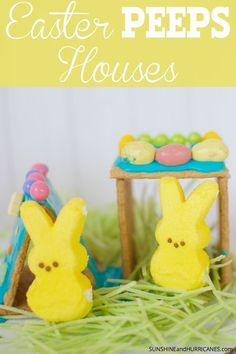 Fun and easy Easter Peeps Houses are a great Spring Break activity and they use up all that leftover Easter candy from all those egg hunts! Easter Activities For Kids, Spring Activities, Easter Peeps, Easter Candy, Art For Kids, Crafts For Kids, Diy Crafts, Cracker House, Egg Decorating