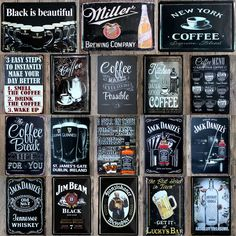18 Types Wine Beer Black Metal Signs Tin Poster Cafe Shop Tavern Wall Home Decor #Unbranded #WineBeer