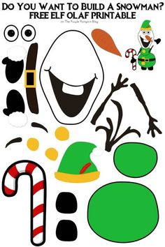 Do You Want To Build A Snowman? Free Printable Elf Olaf - Do You Want To Build A Snowman? Just print out the pieces and assemble! Plus many other printable build an Olaf on this website! im Regal Ideen Preschool Christmas, Christmas Crafts For Kids, Christmas Activities, Holiday Crafts, Christmas Games, Spring Crafts, Disney Printables, Free Christmas Printables, Snowman Printables
