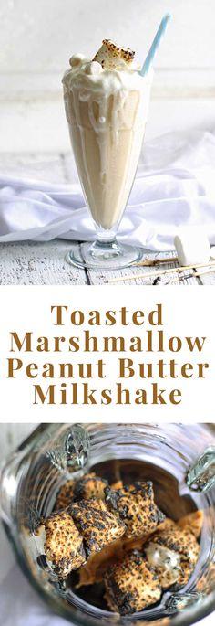 Toasted Marshmallow Peanut Butter Milkshake | honeyandbirch.com