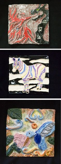 carved animal tiles