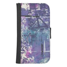 Purple and Black Inky Art Galaxy S4 Wallet