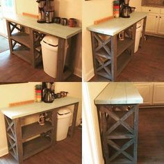 Rustic X Coffee Bar / Rustic X Farmhouse Coffee Bar / Mini Fridge Table / Dining Bar / Farmhouse Bar / Fridge Table / Mini Fridge Console - Rustic X Coffee Bar / Rustic X Farmhouse Console Diy Furniture Plans, Furniture Projects, Furniture Makeover, Bar Furniture, Wooden Furniture, Kitchen Furniture, Office Furniture, Furniture Design, Outdoor Furniture