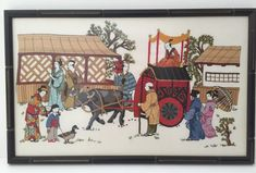 Japanese Art Finished Framed Crewel Embroidery Vintage Needlepoint Cross Stitch  | eBay