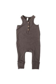 Tank romper in 'faded black' love how it looks with neutral long sleeve shirt. #childhoodsclothing
