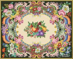 Купить или заказать Схема вышивки 'Фруктовый ковер' в интернет-магазине на Ярмарке Мастеров. Авторская реконструкция старинной схемы для вышивания крестом 1845-1869 годов по старинному, раскрашенному вручную бумажному шаблону. Издательство Seiffert & Co. К схеме прилагается ключ в цветовой палитре ниток DMC, а также возможные размеры готовой вышивки на 14, 16, 18 и 25 канве.
