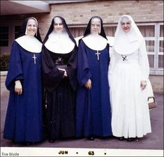 Sister Margaret Ann, in white, was from a Catholic family that sent several of its daughters into the service of the church. Pictured from the left is a cousin, Mary Leontine Froelich; her sister, Laura Marie, and another cousin, Mary Martha Schick.