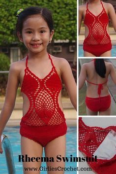 Here is a crochet swimsuit / bathing suit that I made for my daughter on one of her swimming days. A free crochet pattern for Rheema Swimsuit. Crochet Baby Bikini, Crochet Monokini, Crochet Bikini Pattern, Swimsuit Pattern, Crochet Toddler, Crochet Girls, Crochet Baby Clothes, Crochet For Kids, Free Crochet