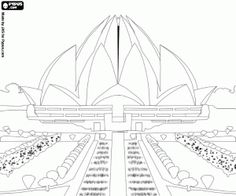 Lotus Temple in Delhi, India coloring page Free Coloring Pages, Printable Coloring Pages, Temple Drawing, Lotus Temple, Drawing Scenery, Black Paper Drawing, Building Images, Line Sketch, Online Drawing
