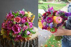 Fuchsia and Peach Wedding Bouquets