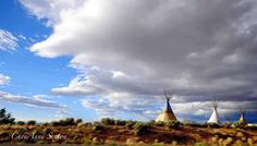 TeePees under big clouds Print  northern New by NewMexicoMtnGirl, $40.00