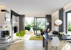 Beautiful modern living room with laminate floorboards, class case fireplace, simple black dining table and white dining chairs + lime green rug and arm chair. Black Glass Dining Table, White Dining Chairs, My Home Design, Home Interior Design, House Design, Bungalow House Plans, New House Plans, Beautiful House Plans, Living Room Lounge