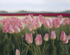 Sandy Byers Pastel Pink Skagit Valley Washington Tulips Painting