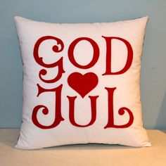God Jul - Scandinavian Merry Christmas pillow. 60.00, via Etsy.