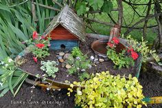 Use the birdhouse (coated with poly) to make a fairy-esque garden spot in the yard