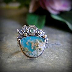 Turquoise Plume Agate Ring with Sapphire in Oxidised Sterling Silver - Inflorescence Ring in Plume on Etsy, $170.00