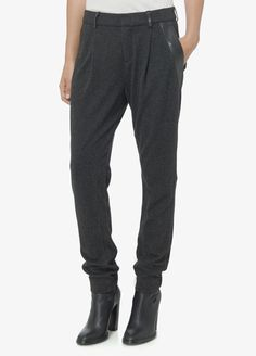 Leather Trim Relaxed Trouser | Vince