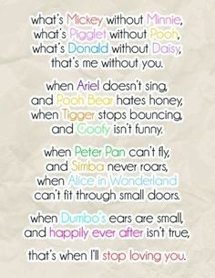 Discover and share Disney Cute Love Quotes. Explore our collection of motivational and famous quotes by authors you know and love. Cute Love Quotes, Cute Disney Quotes, Disney Cute, Cute Disney Stuff, Famous Disney Quotes, Cute Sayings, Disney Family Quotes, Cute Family Quotes, Disney Disney