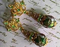 Earrings Handmade Green Crystal and Cloisonne Beads with Gold
