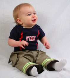 Personalized Firefighter Outfit For Baby by FullyInvolvedStch