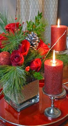 """CHRISTMAS DECOR IDEA """"OMG HAVE THE CONTAINER FOR THE FLOWERS-USE AS SAND FILLED CANDLE HOLDER"""""""