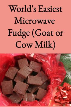 Here's a super easy fudge recipe that's made in the microwave and turns out great every time. And, although we use goat milk, cow milk can be used too. It's makes an easy homemade gift! Goat Milk Fudge Recipe, Recipe Using Milk, Goat Milk Recipes, Microwave Chocolate Fudge, Easy Microwave Fudge, Easy Fudge, Easiest Fudge Recipe, Fudge Recipes, Candy Recipes