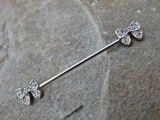Bow Industrial Barbell 14ga Body Jewelry Scaffold Ear Jewelry Double Piercing Upper Ear Jewelry