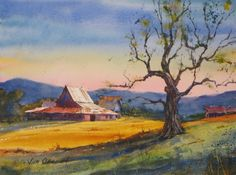 Jim Oberst original watercolor painting for sale. Watercolor Barns, Watercolor Paintings For Sale, Art Watercolour, Watercolor Artists, Watercolor Landscape, Art Pics, Art Pictures, Farm Barn, Old Barns