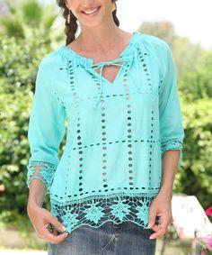 Anandas Collection Blue Crochet Tie-Neck Tunic   zulily